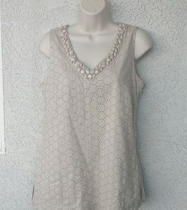 Charter Club Tan Sleeveless Top Tunic Beaded